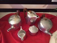 1950's Vintage Picquotware Picqot Ware Set Tea Pot, Coffee Pot Milk Jug Sugar Bowl