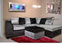 🔴🔵GET IT NOW🔴🔵BRAND NEW CRUSHED VELVET CORNER SOFA SILVER GOLD BLACK COUCH 3 n 2 SEATER SET