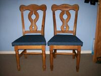 PAIR OF SOLID PINE 'RUSTIC FINISH' DINING CHAIRS WITH BLUE UPHOLSTERY