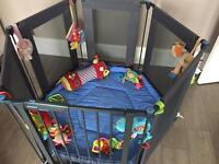 Lindam Play Pen - Grey with Blue Mat - toys not included