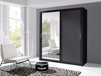 Lux 200 2 Door Sliding high gloss + Mirror Wardrobe in black or white, cabinet