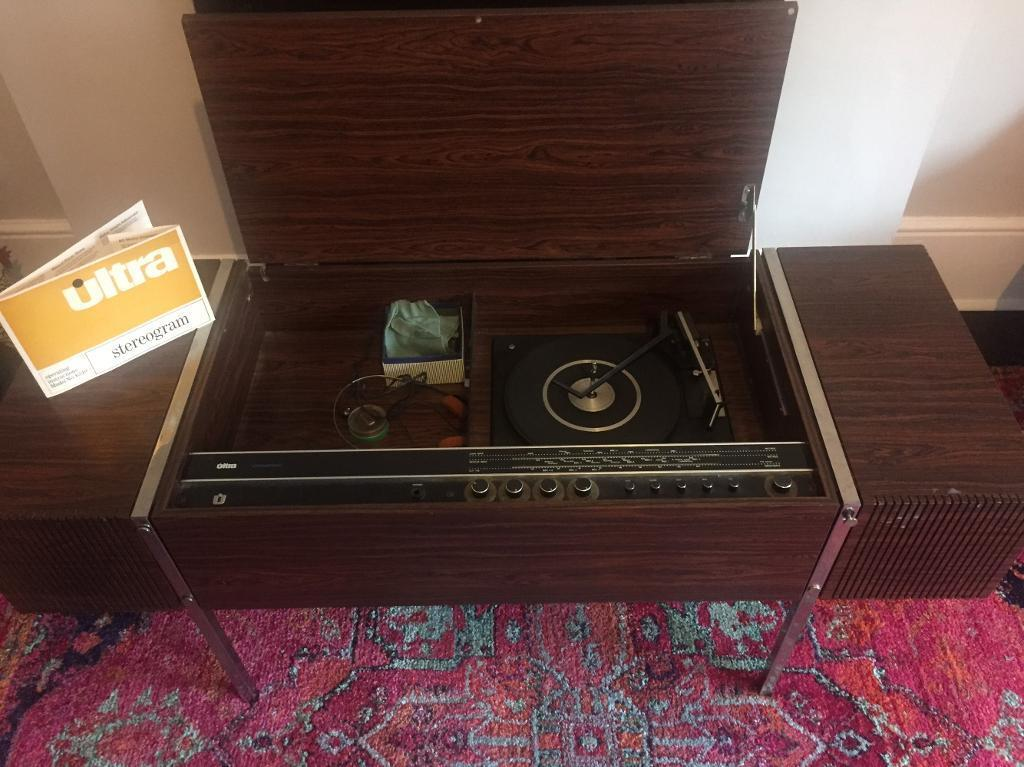 Vintage record player and radio