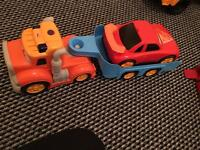 Lorry trailer and car