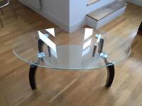 Glass coffee table and glass magazine rack