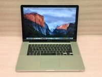 Macbook Pro 15 inch Apple mac laptop with SSD hard drive on latest EL Capitain 10.11 software