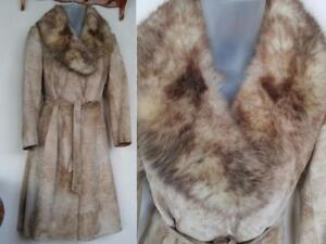 WOMENS 10-12P LONG TRENCH COAT (Leather Suede & Real Fur) Made in Canada for Liptons, High end fashion store. Womens Med