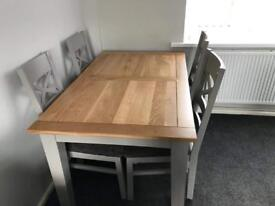 St Ives Natural Oak 5ft extendable table & 4 chairs