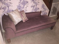 Vintage Chaise Longue, Lilac Velvet