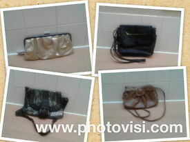 Womens Handbag Bundle, 4 different bags, clutch & over the shoulder, various colours