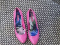 BNWT NEXT GORGEOUS CERISE PINK PATENT LOOK HEELED SHOES SZ 4.5