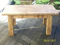 RUSTIC STYLE SOLID PINE COFFEE TABLE with antique pine wax finish made from 100% reclaimed wood