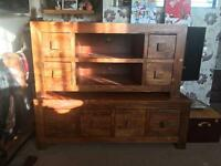Solid Oak Tv Unit and Coffee Table