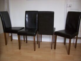 Set of four dining chairs, dark brown