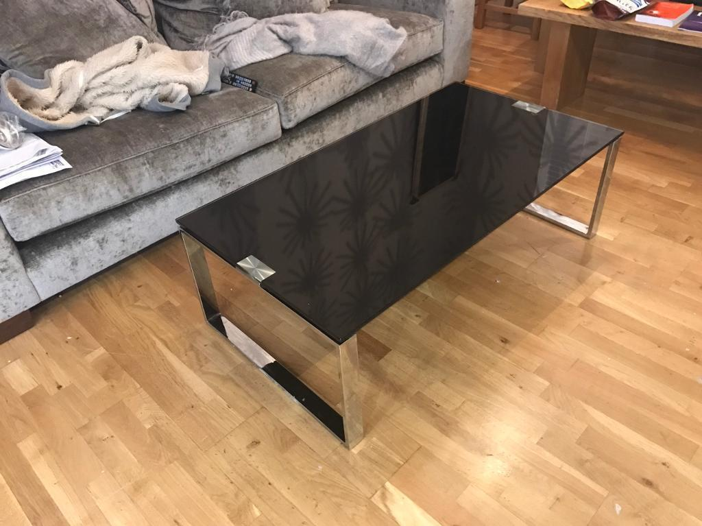 Dfs Coffee Table Black Glass And Stainless Steel