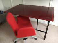 Glass top desk, and swivel chair