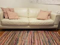 White Leather 3 seater sofa *URGENT SALE*