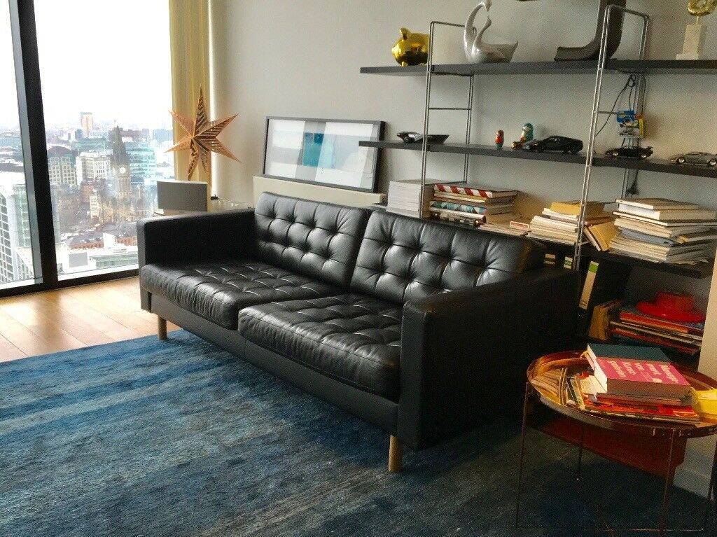 Leather Couch Sofa Ikea Landskrona Three Seater In