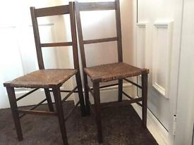 Pair of vintage rushwork bedroom chairs