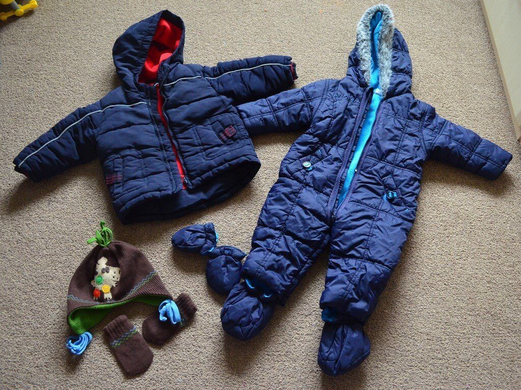 Baby boy snowsuits, all in one with hat and gloves 6-9 months