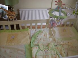 MOTHERCARE HUMPHREYS CORNER COT BEDDING SET (cot not for sale) curtains,grobag,mobile,and more