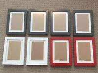 8x IKEA RIBBA Picture Frames, 10 x 15cm - Grey, White, Red