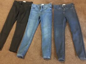 Women's molly river island 3 pairs of jeans, size 10 short leg