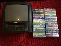 "Philips 14"" Tv Video Combo with 32 VHS Videos"