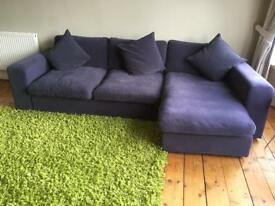 Sofa- dark grey chaise sofa with cushions . John Lewis beautiful condition