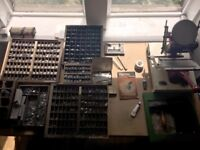 Vintage 1930s Printing Press Adana Model N.2 H/S with typefaces and lots of accessories