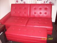 2 seater double faux leather sofa bed