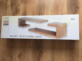 Next Home Set of 2 Floating L Shelves £20 Storage Opus Oak 2