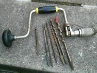 Stanley ratchet brace and bits