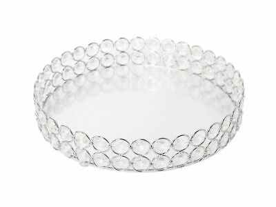 Mirrored Crystal Vanity Tray Decorative for Perfum, Jewelry Makeup 9 x 9 inches