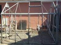 8ft x 6ft Aluminium Greenhouse with 53 glass panes and bag of brackets, clips etc