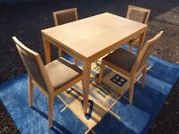 Dining Room Suite White Oak effect Table and 4 Chairs Brown Suede