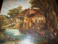 VERY OLD ANTIQUE OIL PAINTING ( LANDSCAPE).((((PRICE LOWER))))