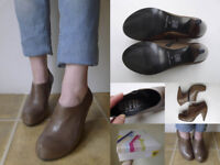 OFFICE Brown Leather High Heel Ankle Shoe Bootie Boots 4 37 NIB £40