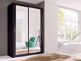 Brand New Full Mirrored Sliding Door German Wardrobe with Shelves, Hanging Rail in Oak, Black, White