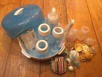 Dr browns bottles (one new) and microwave steriliser and Medela bottle and dummies