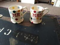 Emma Bridgwater - Mr & Mrs mugs (colourful spots) - never been used!