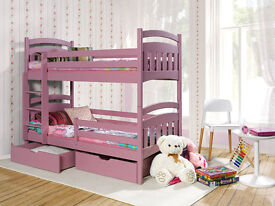 DAISY PINE WOOD CHILDREN BUNK BED WITH MATTRESSES AND STORAGE DRAWERS (Pink, Uk Standard Size)