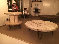 Distressed White Cable Drum Coffee and Side Tables