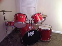Drum Kit (8 Piece) Red, Great Condition