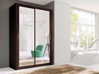 Lux 150 Sliding Wardrobe with mirror in OAK sonoma, WHITE, BLACK, GREY, WENGE storage cabinet