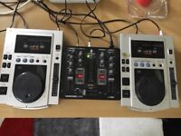 Pair of Pioneer CDJ-100 with Behringer mixer VMX100 for sale