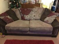 Scs scatter back taupe and red sofa 3 years old and large chair suite.