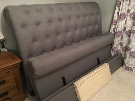 Grey Fabric Kingsize Bed