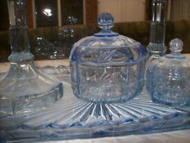 Blue glass dressing table set
