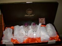 New in box by webb. Crystal lead sherry glasses