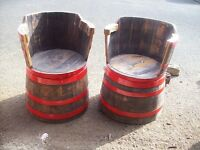 whiskey barrel seats and tabe